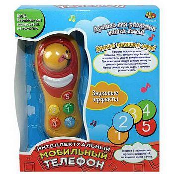 Телефон мобильный эл/мех, звуковые и световые эффекты, пластмасса, в коробке, 19х16х5,5см