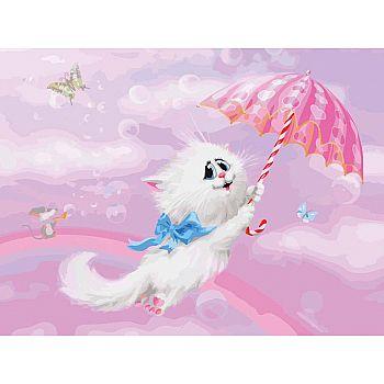 Набор для творчества Белоснежка картина по номерам на холсте Белая кошечка 30 на 40 см