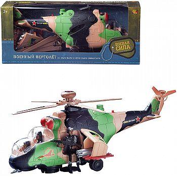 Вертолет Abtoys Боевая Сила военный (камуфляж), эл/мех, световые и звуковые эффекты, в коробке