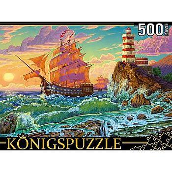 Пазлы Konigspuzzle Корабль и маяк 500 элементов