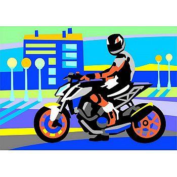 Набор для творчества LORI Картина по номерам для малышей Мотоциклист