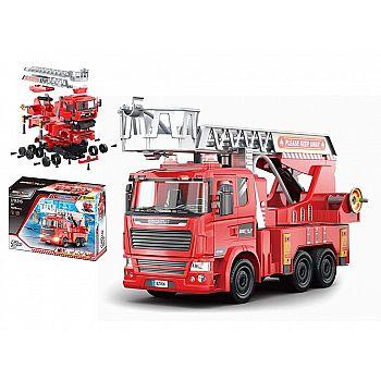 """Машинка-конструктор """"Собери сам. Пожарная машина"""", 105 деталей, звуковые и световые эффекты."""
