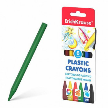 Мелки ErichKrause пластиковые 6 цветов