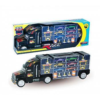 """Машинка """"Автовоз"""" в комплекте с металлическими машинками и дорожными знаками, без механизмов, 49х10х17 см"""