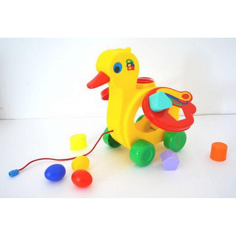 Игрушка-каталка ПОЛЕСЬЕ Уточка-несушка (в сеточке) 22,5х13х23 см.