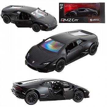 Машинка металлическая Uni-Fortune RMZ City 1:32 Lamborghini Hurac1n LP610-4 инерционная, цвет матовый черный, 12,76х5,47х3,40 см
