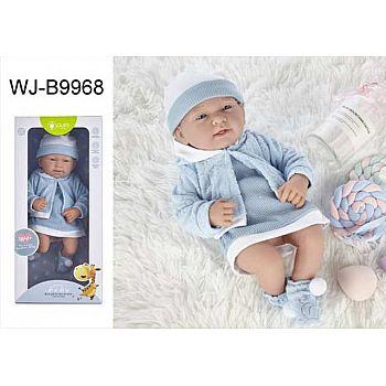 Пупс JUNFA Pure Baby 35см в кофточке, платье и шапочке, в коробке