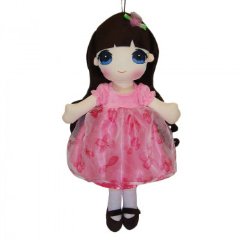 Кукла ABtoys Мягкое сердце, мягконабивная в розовом платье, 50 см