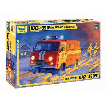 Сборная модель ZVEZDA Автомобиль пожарной служба УАЗ 3909 1/43