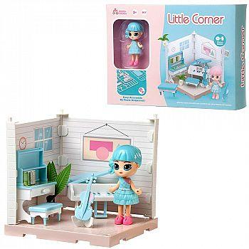 Игровой набор ABtoys Модульный домик (собери сам), 1 секция. Мини-кукла в музыкальной комнате, в наборе с аксессуарами