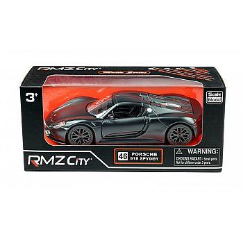 Машинка металлическая Uni-Fortune RMZ City 1:32 Porsche 918 Spyder, инерционная, черный матовый цвет