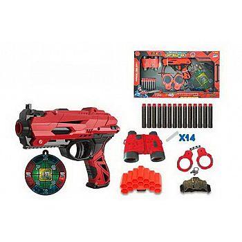 Набор игровой Бластер красно-черный с аксессуарами и мягкими снарядами 14 шт