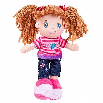 Кукла ABtoys Мягкое сердце, брюнетка в джинсах, мягконабивная, 20 см