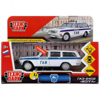 """Машинка Технопарк Газ-2402 """"Волга"""" Полиция, свет и звук, 12 см"""