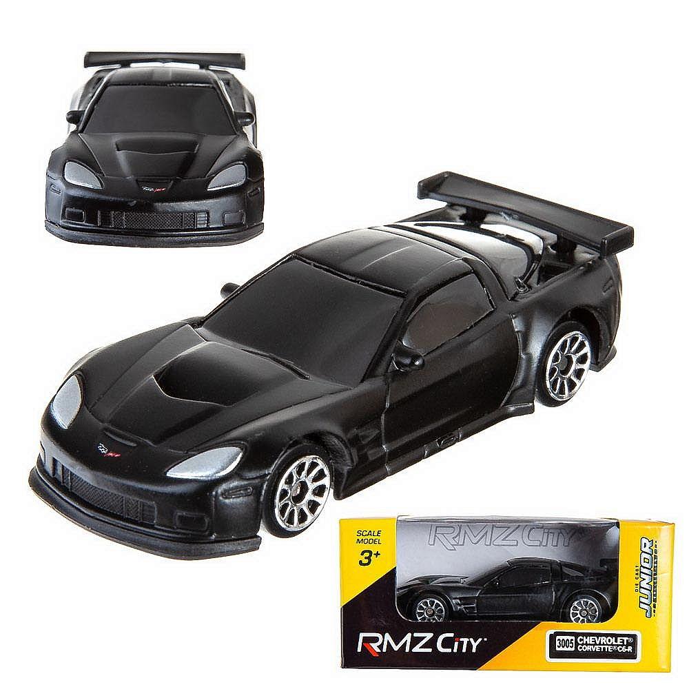 Машинка металлическая Uni-Fortune RMZ City 1:64 Chevrolet Corvette C6R, без механизмов, черный матовый цвет, 9x4x4см