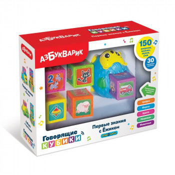 Развивающая игрушка Азбукварик Говорящие кубики Первые знания с Ёжиком 5 кубиков, синий
