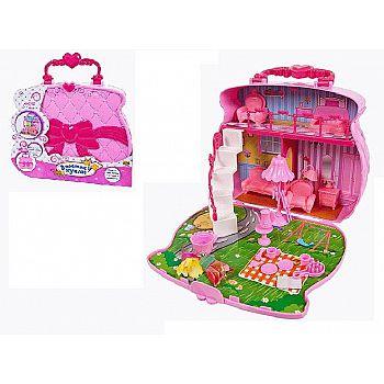 Игровой набор Abtoys В гостях у куклы Домик-сумка для куклы с аксессуарами