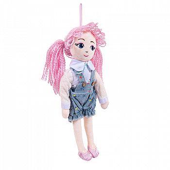 Кукла ABtoys Мягкое сердце, с розовыми волосами в шортах, мягконабивная, 35 см