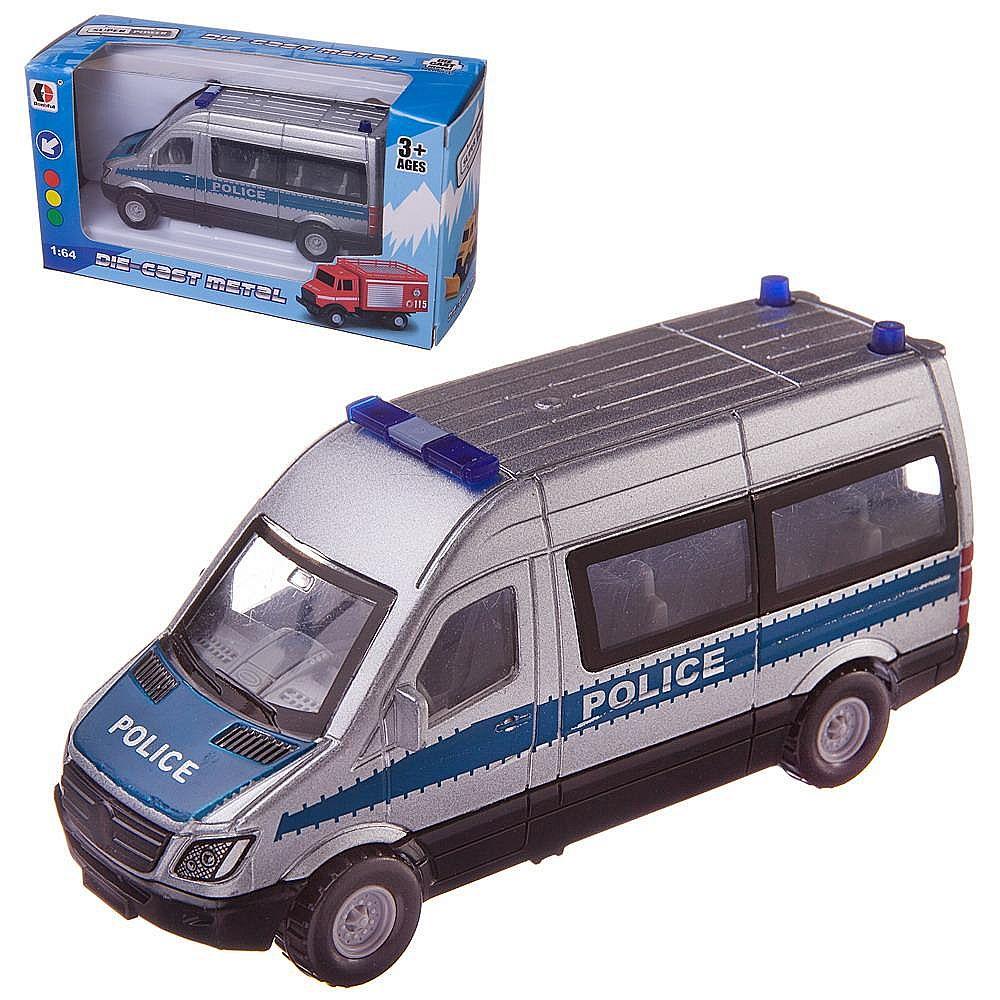 Машинка-микроавтобус Junfa Полиция металлическая с открывающими дверцами, 16x6x9см