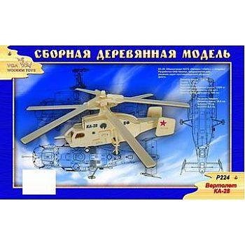 Сборная деревянная модель Чудо-Дерево Авиация Вертолет КА-28