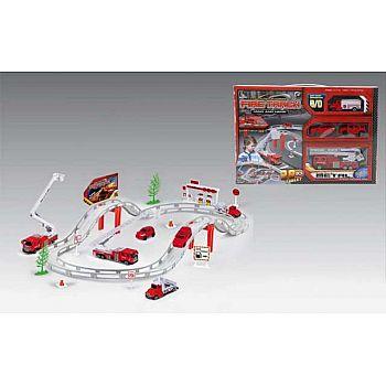 Автотрек Пожарная станция, в наборе: 29 предметов, длина трека: 180см, одна из машин эл/мех, 41.3x28.5x5.7см,