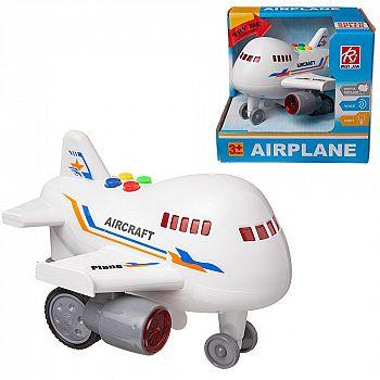 Самолет Junfa пластмассовый, инерционный, со световыми и звуковыми эффектами, в коробке, 15,5х15х14см