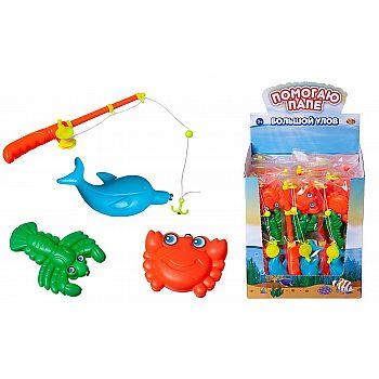 """Рыбалка """"Большой улов"""", набор с 1-й удочкой и 3-мя фигурками морских обитателей, в пакете"""