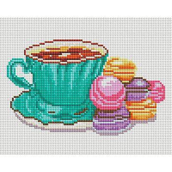 Набор для творчества Белоснежка алмазная мозайка на раме Кофе и макаруны 20*25см