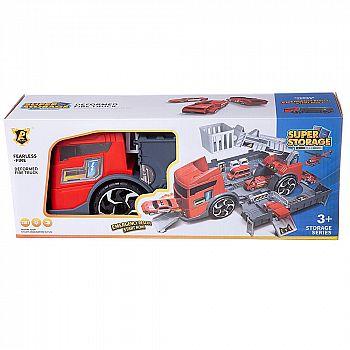 """Машинка-трансформер """"Пожарная станция"""", с 2 машинками, в коробке 38.8x15.5x10.6"""