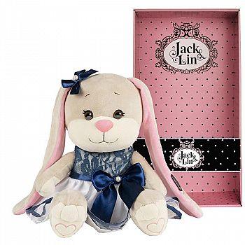 Мягкая игрушка Maxitoys Jack&Lin Зайка в Сине-Белом Платье с Бантом, 25 см, в Коробке