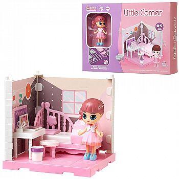 Игровой набор ABtoys Модульный домик (собери сам), 1 секция. Мини-кукла в спальне, в наборе с аксессуарами
