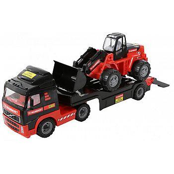 Автомобиль трейлер с трактором погрузчиком MAMMOET, 75,5х21,5х32 см