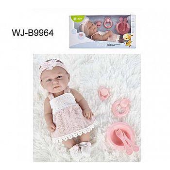 Пупс JUNFA Pure Baby 30см в розовом платье, носочках, повязке, с аксессуарами