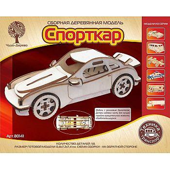Сборная деревянная модель Чудо-Дерево Транспорт Спорткар-1 с резиновым двигателем