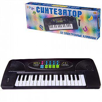 Синтезатор черный 32 клавиши, с микрофоном, эл/мех, работает от батареек, 44,5x5,5x15,5