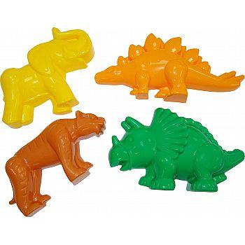 Формочки (тигр + мамонт + динозавр №1 + динозавр №2) 20х12,5х9,5 см.