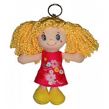 Кукла ABtoys Мягкое сердце, блондинка в красном платье, на брелке, мягконабивная, 15 см