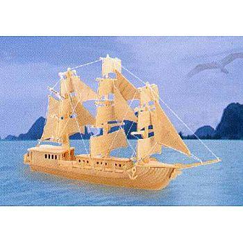 Сборная деревянная модель Чудо-Дерево Корабли Парусник (4 пластины)