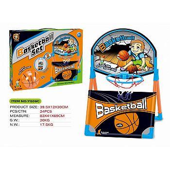 Набор YG Sport баскетбольное кольцо и мяч 10см (установка на столе, полу или крепление на косяк двери), 38.5*40*58 см)