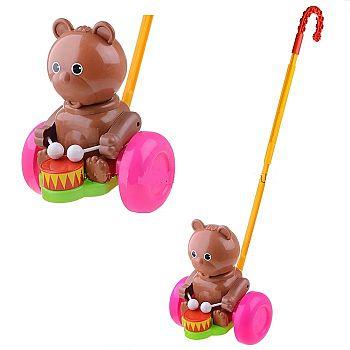 Игрушка-каталка ФОРМА Мишка-барабанщик 15х23х17,5 см.