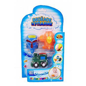 """Набор резиновых игрушек для ванной """"Веселое купание"""", 3 предмета (вертолет, поезд, самолет)"""