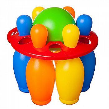 Игровой набор Junfa Боулинг с шаром и 6 кеглями в держателе