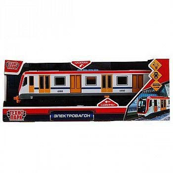 Поезд Технопарк Электровагон пластик 4 кнопки, инерционный, белый, свет, звук, 30см