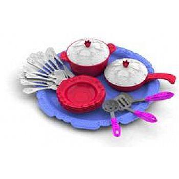 Набор посуды Кухонный сервиз Волшебная Хозяюшка (23 предмета на подносе) 31,5х20х9 см.