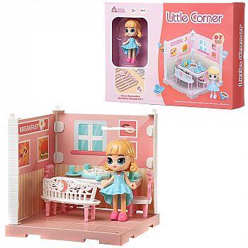 Игровой набор ABtoys Модульный домик (собери сам), 1 секция. Мини-кукла в столовой, в наборе с аксессуарами
