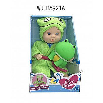 """Пупс ABtoys Baby Ardana 23см, в банном халате и игрушкой """"Лягушонок"""", в коробке"""