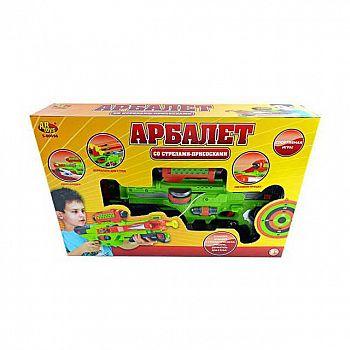 Игровой набор ABtoys Арбалет со стрелами на присосках зеленый, в наборе 3 стрелы, мишень и держатель для стрел