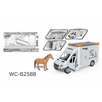 """Машинка """"Перевозка лошадей"""", с открывающими дверцами, фигуркой лошадки, со световыми и звуковыми эффектами, 39x12x17"""