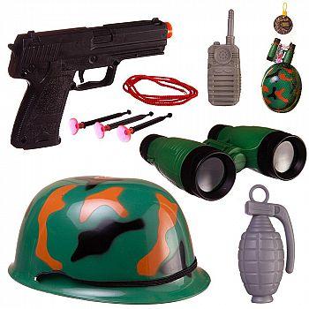 Игровой набор Abtoys Боевая сила Военная каска, пистолет с пулями на присосках, бинокль, рация, граната с аксессуарами, в сетке