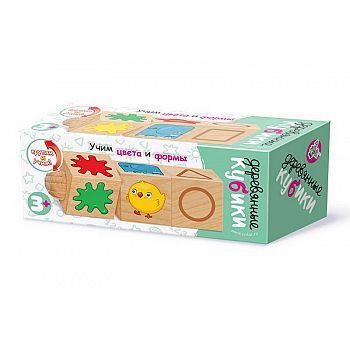 Кубики деревянные на оси Учим цвета и формы (3 кубика)
